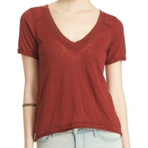 Free People Autumn Pearls V neck Burnout Tee